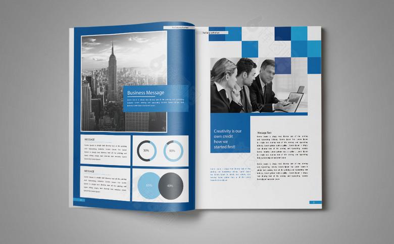 蓝色几何高档企业画册