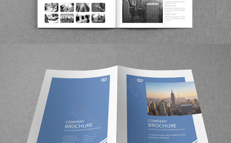 蓝色时尚公司画册模板设计