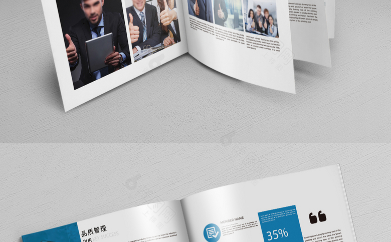 蓝色简洁集团企业画册