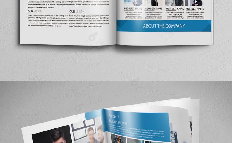 蓝色简约外资企业宣传画册